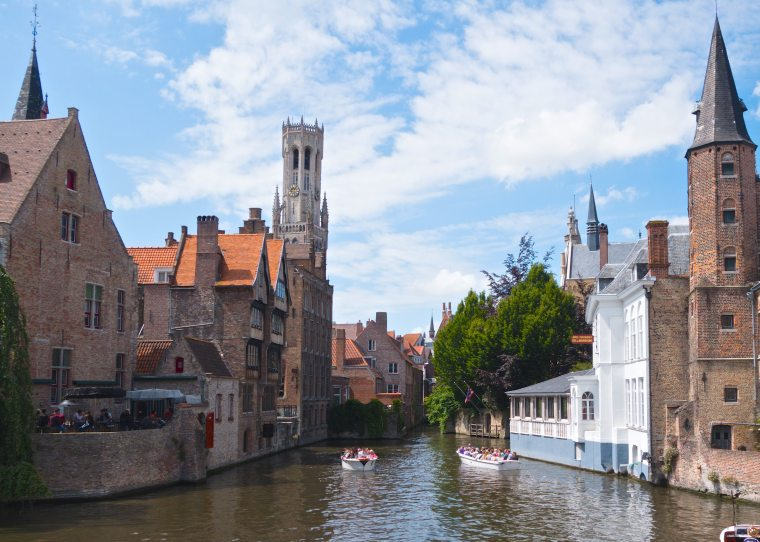 Brick houses by canal in Bruges